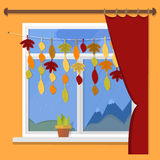 Autumn. Vector illustration - autumn window rain views. Garland of autumn leaves on the window. Royalty Free Stock Images