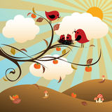 Autumn. Vector illustration of an Autumn day landscape with the lovely birds family Royalty Free Stock Photo