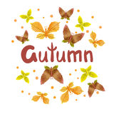 Autumn vector illustration with watercolor leaves as butterflies. Stock Images
