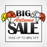 Autumn vector sale banner with cool umbrellas Royalty Free Stock Photos