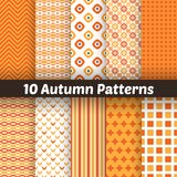 10 Autumn vector seamless patterns. Endless. Autumn vector seamless patterns. Endless texture for wallpaper, web page background. Set of halloween and Royalty Free Stock Images