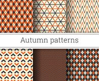 Autumn vector seamless patterns set. Illustration. Endless texture Royalty Free Stock Images