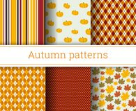 Autumn vector seamless patterns set. Illustration. Endless texture Stock Photo