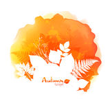 Autumn vector watercolor stain with white foliage Stock Photography