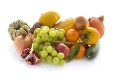 Autumn vegetable and fruits on white Stock Images