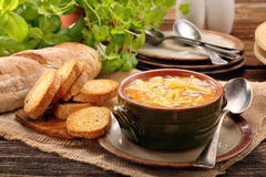 Autumn vegetable soup with toasts and space for text Royalty Free Stock Image