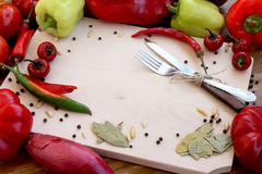 Autumn Vegetables. On the wood, vegetables frame Stock Photography