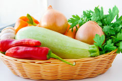 Autumn vegetables in basket Royalty Free Stock Photo