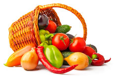 Autumn vegetables in basket Stock Images