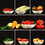 Autumn vegetables collage. Colorful autumn vegetables in a wooden rustic bowl. Each item from photo collage is on a dark background Stock Image