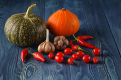 Autumn vegetables cooking preparation. Pumpkin, tomatoes ingredi Royalty Free Stock Photos