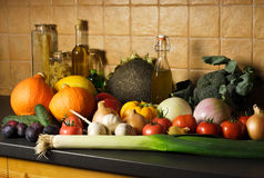 Autumn vegetables and fruits background. In the kichen Stock Image