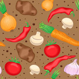 Autumn vegetables and mushrooms. Seamless brown pattern with vegetables and mushrooms Stock Photo