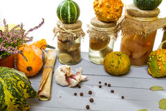 Autumn vegetables with the recipe Royalty Free Stock Images