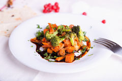 Autumn vegetables stewed with a dark sauce. Royalty Free Stock Images