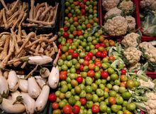 Autumn vegetables in the supermarket Royalty Free Stock Photo