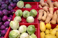 Autumn vegetables in the supermarket Stock Images