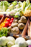 Autumn vegetables. A variety of late summer and autumn vegetables for sale on a market stall Stock Image