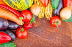 Autumn vegetables on wooden Stock Images