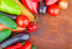 Autumn vegetables on wooden Royalty Free Stock Images