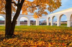 Novgorod Kremlin and Yaroslav Courtyard arch, Veliky Novgorod, Russia. Autumn in Veliky Novgorod. Autumn in Veliky Novgorod, Russia. Novgorod Kremlin and Royalty Free Stock Image
