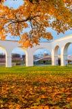 Novgorod Kremlin and Yaroslav Courtyard arch, Veliky Novgorod, Russia. Autumn in Veliky Novgorod. Autumn in Veliky Novgorod, Russia. Novgorod Kremlin and Royalty Free Stock Images