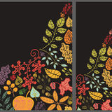 Autumn vertical banner set.Leaves,branches,berries Stock Photos