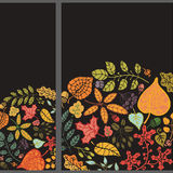Autumn vertical banner set.Leaves,branches,berries Stock Image