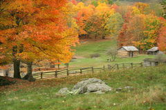 Autumn View. View of some fields along with a split rail fence with a cabin in the distance.  Taken during peak of Autumn Stock Image