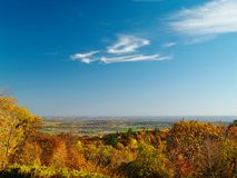 Autumn view. Of Ottawa river valley, Gatineau Park in foreground stock photography