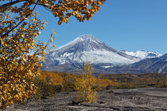 Autumn view of active Avacha Volcano on Kamchatka, Russia Royalty Free Stock Photography