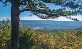 Autumn View av gåsliten vikdalen och blåa Ridge Mountains arkivbild