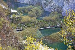Autumn view of beautiful waterfalls in Plitvice Lakes Stock Images