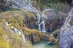Autumn view of beautiful waterfalls in Plitvice Lakes Stock Photos
