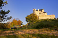 Autumn view of the beauty medieval castle in Bobolice, Poland Royalty Free Stock Image