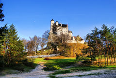 Autumn view of the beauty medieval castle in Bobolice, Poland Royalty Free Stock Photo