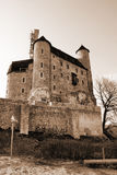 Autumn view of the beauty medieval castle in Bobolice, Poland Royalty Free Stock Images