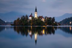 Autumn view on Bled Lake, Bled, Slovenia, Europe. royalty free stock image