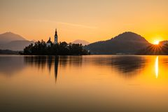 Autumn view on Bled Lake, Bled, Slovenia, Europe. stock photography