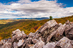 Autumn view of the Blue Ridge Mountains from the boulder-covered Royalty Free Stock Images