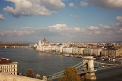 Autumn view of Budapest, Danube royalty free stock photography