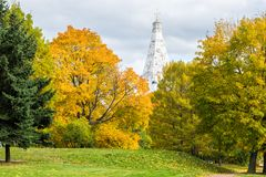 Image of An autumn view of The Church of the Ascension in Kolomenskoye, Moscow. An  autumn view of The Church of the Ascension in Kolomenskoye, Moscow Stock Photos