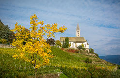 Autumn view of the Church of the idyllic village of Cortaccia. Cortaccia extends on the sunny side of the wine road. South Tyrol, Royalty Free Stock Images