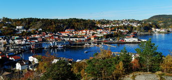 Autumn view of the city center and marina Stock Photography