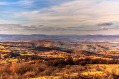 Autumn View. From Cluj Napoca's hills over the Apuseni mountains and Faget forest Stock Image