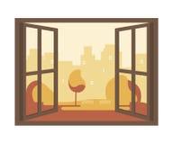 Autumn View de la ventana abierta ilustración del vector