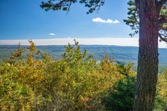 Autumn View des blauen Ridge Mountains- und Gansnebenflusses Tal stockbild