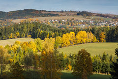 Autumn view of Dobrosov, Nachod, Czech republic. With village Lipy Stock Images