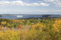 Autumn view from 1530 foot high Cadillac Mountain with views of the Porcupine Islands, Frenchman Bay and Holland America cruise sh Royalty Free Stock Photos