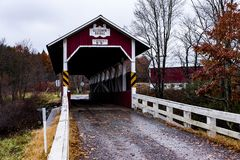 Historic Glessner Covered Bridge - Autumn Splendor - Somerset County, Pennsylvania. An autumn view of the historic Glessner Burr arch truss covered bridge in Royalty Free Stock Photos